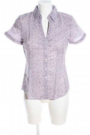 More & More Kurzarm-Bluse weiß-pink Allover-Druck Business-Look
