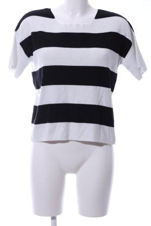 More & More Kurzarmpullover schwarz-weiß Streifenmuster Casual-Look