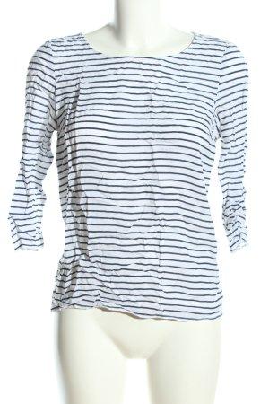 More & More Langarm-Bluse weiß-blau Streifenmuster Casual-Look
