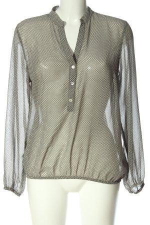 More & More Langarm-Bluse schwarz-weiß Allover-Druck Casual-Look