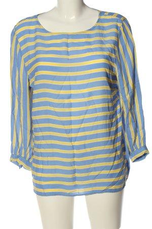 More & More Langarm-Bluse blau-blassgelb Allover-Druck Casual-Look