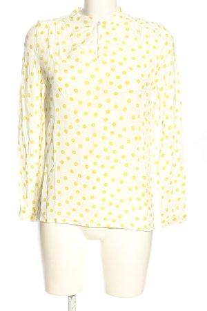 More & More Langarm-Bluse weiß-blassgelb Punktemuster Casual-Look
