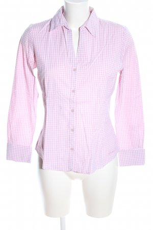 More & More Langarm-Bluse pink-weiß Karomuster Business-Look