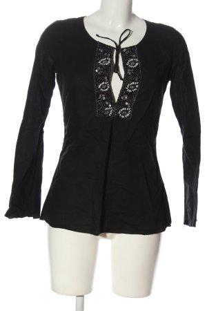 More & More Langarm-Bluse schwarz-weiß Casual-Look
