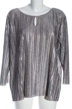 More & More Langarm-Bluse silberfarben Streifenmuster Elegant