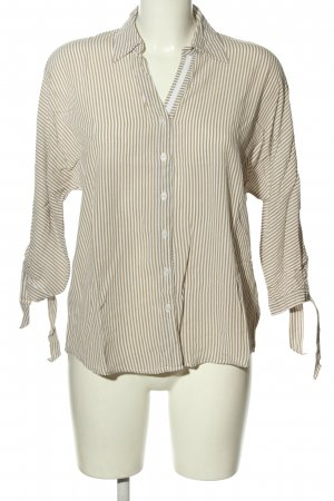 More & More Langarm-Bluse braun-weiß Allover-Druck Casual-Look