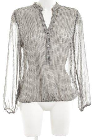 More & More Langarm-Bluse schwarz-wollweiß Allover-Druck Transparenz-Optik