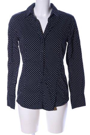 More & More Langarm-Bluse blau-weiß Punktemuster Business-Look