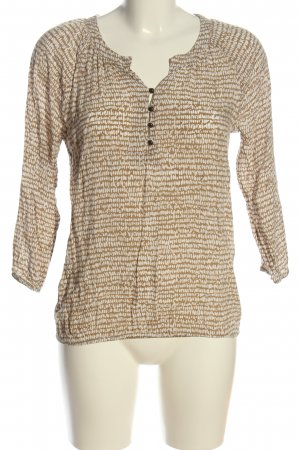 More & More Langarm-Bluse goldfarben-creme Allover-Druck Casual-Look