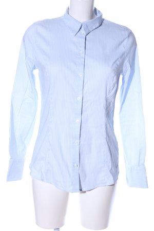 More & More Langarmhemd blau-weiß Allover-Druck Business-Look