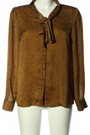 More & More Langarmhemd braun-blassgelb Allover-Druck Casual-Look