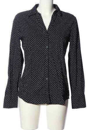 More & More Langarmhemd schwarz-weiß Punktemuster Casual-Look