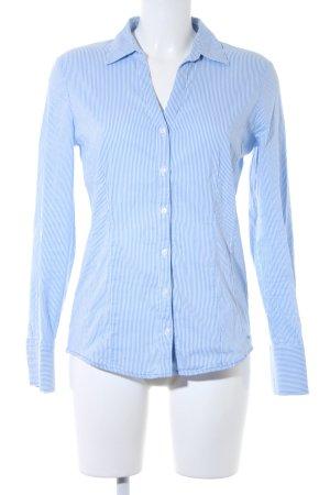 More & More Langarmhemd blau-weiß Streifenmuster Casual-Look