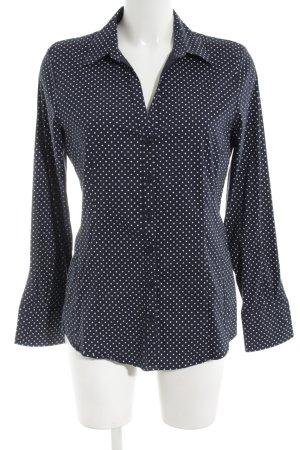 More & More Langarmhemd schwarz-weiß Punktemuster Business-Look