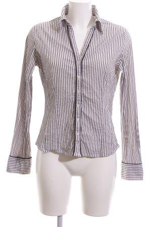 More & More Langarmhemd weiß-schwarz Streifenmuster Business-Look