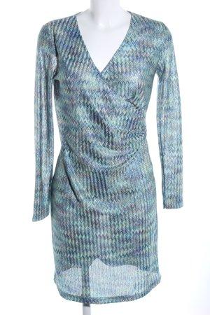More & More Langarmkleid türkis-blau abstraktes Muster Business-Look