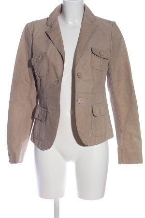 More & More Blazer en cuir blanc cassé style décontracté