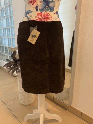 More & More Falda de cuero marrón oscuro