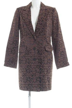 More & More Long-Blazer braun-dunkelbraun abstraktes Muster Business-Look