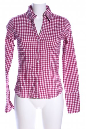 More & More Long-Bluse pink-weiß Karomuster Casual-Look