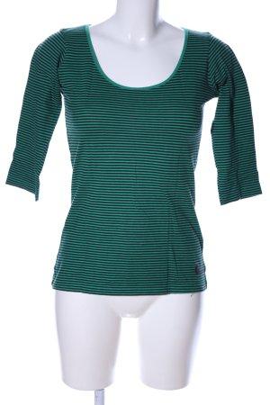 More & More Longsleeve grün-schwarz Streifenmuster Casual-Look