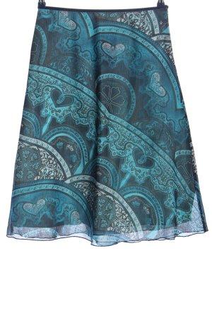 More & More Midirock blau-türkis abstraktes Muster Casual-Look