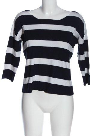 More & More Rundhalspullover schwarz-weiß Streifenmuster Casual-Look