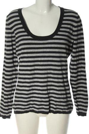 More & More Top à manches longues noir-gris clair motif rayé élégant