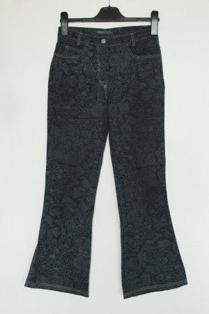 More & More Pantalon pattes d'éléphant bleu foncé-blanc coton