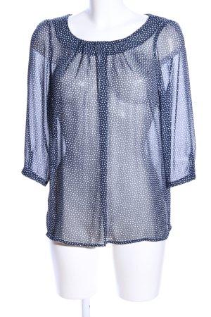 More & More Schlupf-Bluse blau-weiß Allover-Druck Business-Look