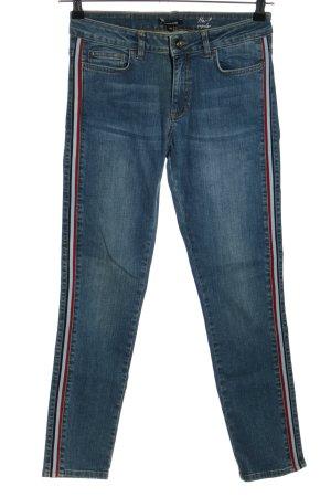 More & More Slim Jeans blau Streifenmuster Casual-Look