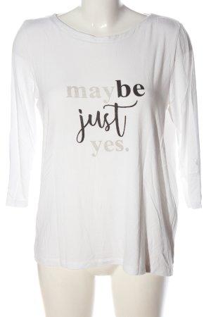 More & More Koszulka z dzianiny biały-czarny Wydrukowane logo W stylu casual