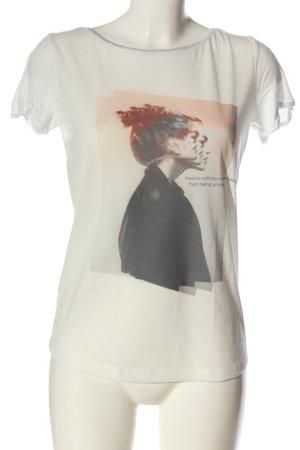 More & More T-Shirt weiß-braun Motivdruck Casual-Look