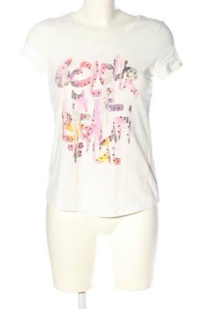More & More T-Shirt weiß-pink Schriftzug gedruckt Casual-Look