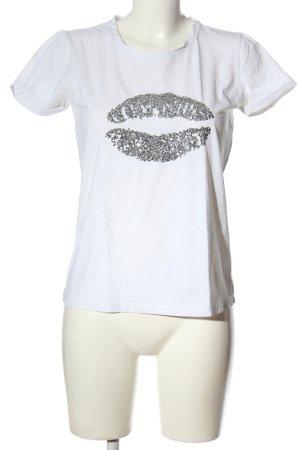 More & More T-Shirt weiß-silberfarben Casual-Look