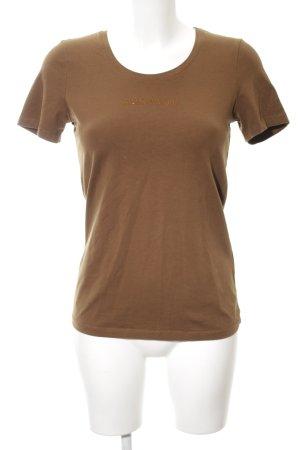 More & More T-Shirt bronzefarben Schriftzug gedruckt Casual-Look