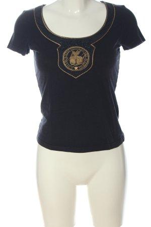 More & More T-Shirt blau-hellorange Motivdruck Casual-Look