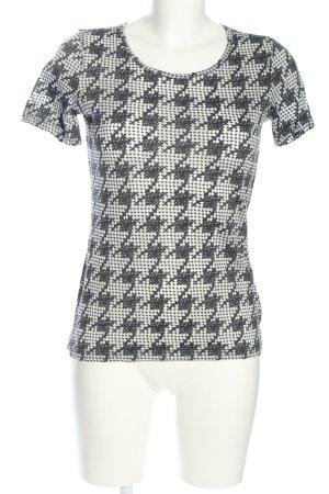 More & More T-Shirt weiß-schwarz Allover-Druck Casual-Look