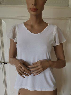 More & More T-Shirt mit Volants-Ärmeln weiß/creme Gr. 36 V-Ausschnitt