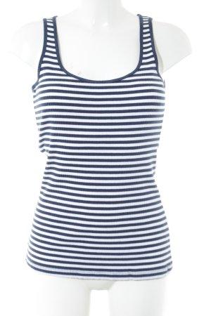 More & More Top met spaghettibandjes blauw-wit gestreept patroon simpele stijl