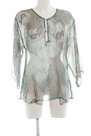 More & More Transparenz-Bluse türkis-braun abstraktes Muster Casual-Look