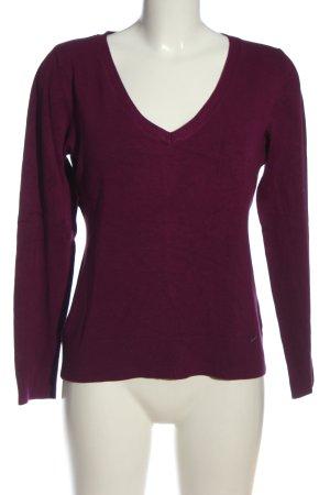 More & More V-Ausschnitt-Pullover lila Casual-Look