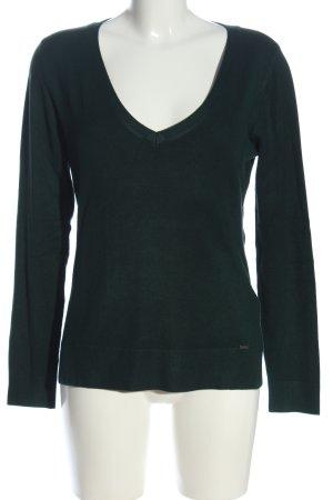 More & More V-Ausschnitt-Pullover grün Business-Look