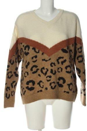 More & More V-Ausschnitt-Pullover Leomuster Casual-Look