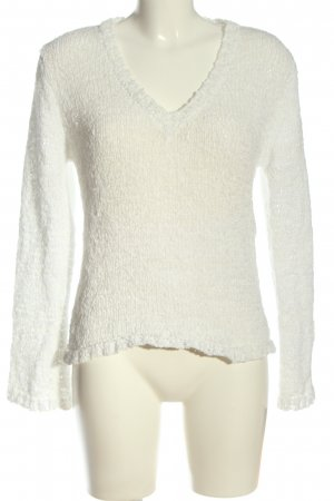 More & More V-Ausschnitt-Pullover weiß Casual-Look
