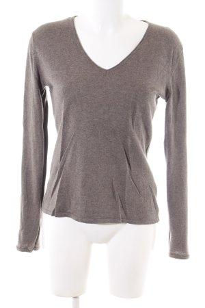 More & More V-Ausschnitt-Pullover braun meliert Casual-Look