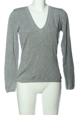 More & More V-Ausschnitt-Pullover hellgrau meliert Casual-Look