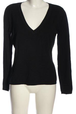 More & More V-Ausschnitt-Pullover schwarz Casual-Look