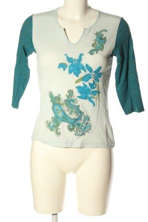 More & More V-Ausschnitt-Shirt abstraktes Muster Casual-Look