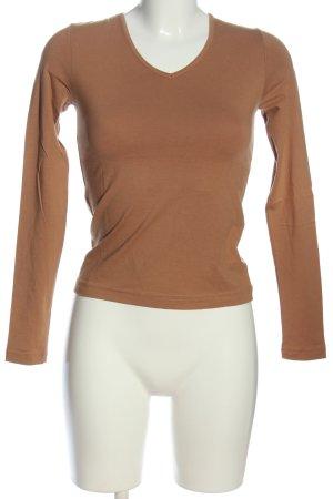 More & More V-Ausschnitt-Shirt braun Casual-Look